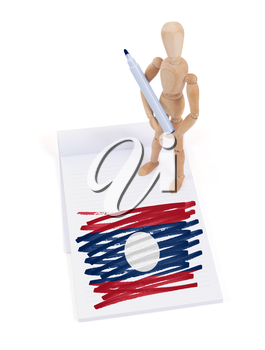 Wooden mannequin made a drawing of a flag - Laos