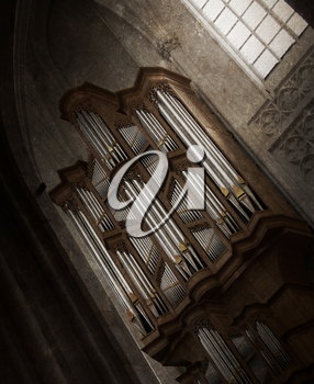 Creepy image of an old pipe organ in a church - Vintage, selective focus
