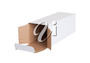 White cardboard box on a white background