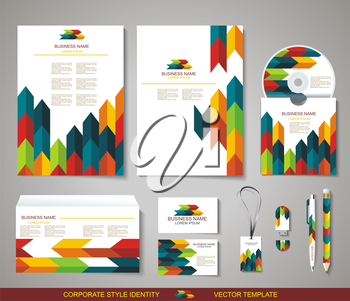 Corporate identity templates with abstract design: blank, business cards, disk, envelope, pen, pencil, badge. Isolated items with soft shadows.