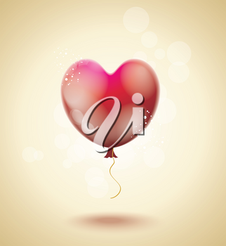 Flying red ballon in form of a heart, vector illustration.