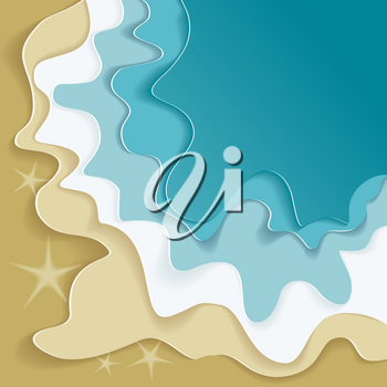Beautiful sea summer or spring abstract background. Golden sand beach with blue ocean, flat design.
