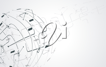 Global network concept. Point and curve constructed the sphere wireframe, technological sense abstract illustration.