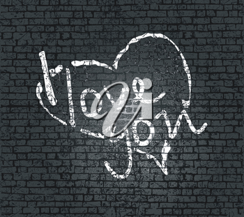 Lettering I LOVE YOU on the bricks wall. For themes like Mother's Day, Valentine's Day, holidays. Vector illustration.