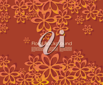 Vector card with paper flower.