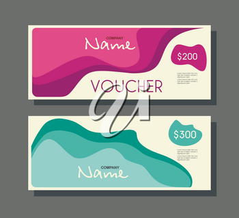 Gift voucher template with retro design, vector.