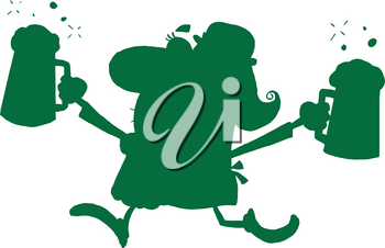 Clipart Illustration of Green Silhouette of an Irish Woman With Two Pints of Beer