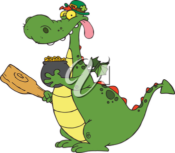 A Dragon With a Pot of Gold Clipart Illustration