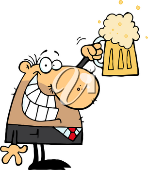 Clipart Illustration of A Man With a Pint of Beer