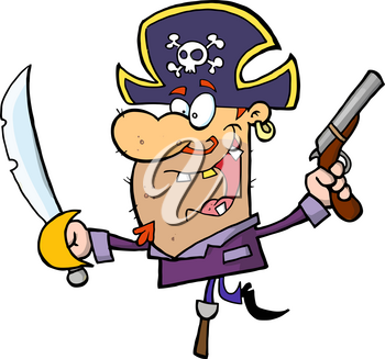 Clipart Illustration of A Pirate Man With a Gun and a Sword