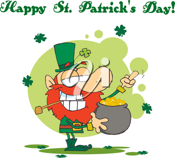 Clipart Image of A Content Leprechaun With a Pot of Gold