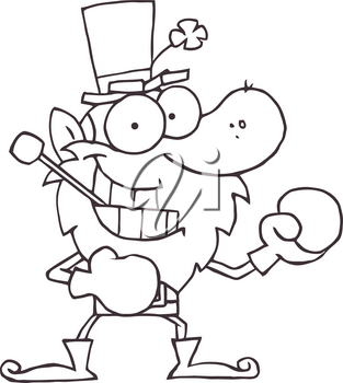 Clipart Image of Black and White Leprechaun Getting Ready To Box
