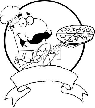 Clipart Image of Black and White Chef With a Pizza and a Blank Banner