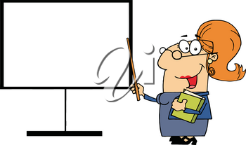 Clipart Image of A Smiling Female Teacher Holding a Textbook and Pointing To the Whiteboard