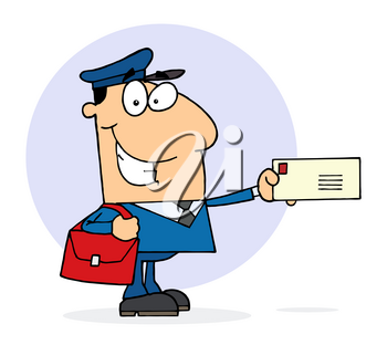 Clipart Image of A Mailman Smiling and Holding a Letter In His Hand