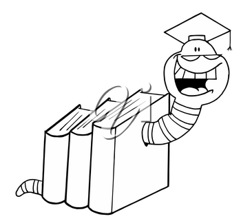 Clipart Illustration of A Grinning Bookworm Wearing a Graduation Cap In Black and White