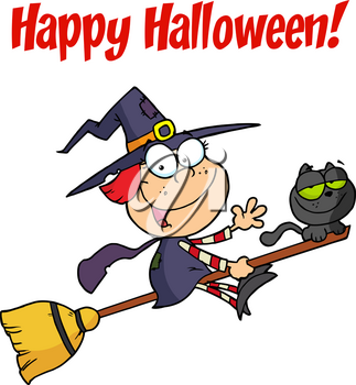 """Clipart Image of A Red Headed Witch Flying Her Magic Broomstick Under """"Happy Halloween!"""" Text"""
