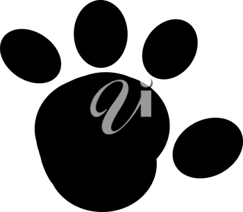 A Black and White Paw Print Clipart Image