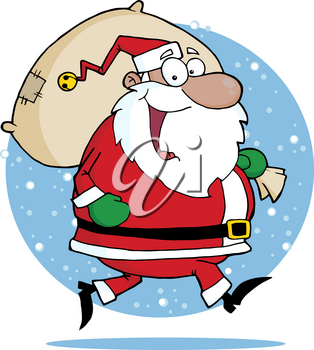 Clipart Image of Snow Falling Around the Shoulders of a Happy Santa Claus Carrying a Toy Bag