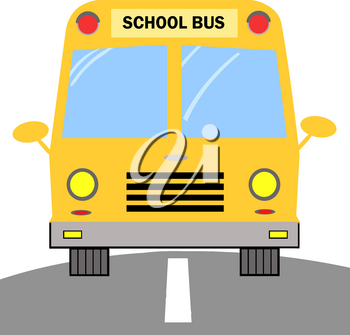 A School Bus Driving on the Road Clipart Illustration