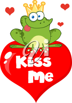 """Clipart Illustration of A Cute Cartoon Frog Prince on Top of a Valentine Heart Saying """"kiss Me"""""""