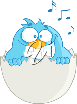Clipart Illustration of A Singing Blue Bird Hatching From Its Egg