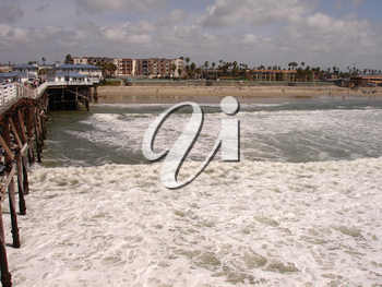 Pacific Beach From The Crystal Pier - Stock Photo