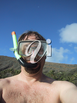 Stock Photo of a Man In a Snorkel Mask