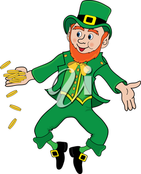 Clip Art Illustration of a Happy Leprechaun With Gold Coins