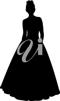 Clip Art Image of a Silhouette of a Woman in an Evening Gown