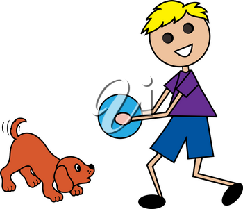 Clip Art Image of a Cartoon Blond Haired Boy Playing Ball With His Puppy