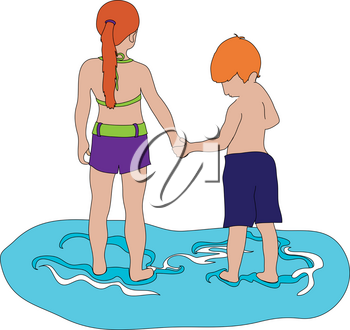Clip Art Image of Red Haired Kids Holding Hands at the Beach