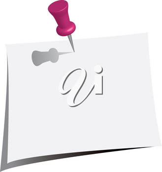 Clip Art Image of a Yellow Push Pin in a Piece of Note Paper