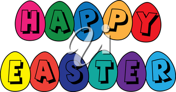 Clip Art Image of a Happy Easter Banner