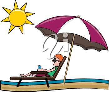 Clip Art Image of a Young Ethnic Man in a Loung Chair on the Beach