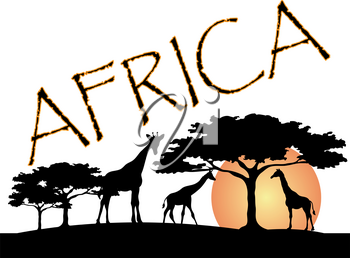 Clip Art Image of an Africa Travel Logo With Giraffes and Umbrella Thorn Trees