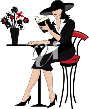 Clip Art Image of a Woman Sitting at a Bistro Table Reading