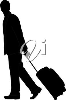 Clip Art Image of an African American Businessman Pulling Luggage