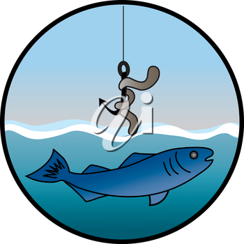 Clip Art Image of a Worm on a Hook and a Swimming Fish Design