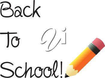Clip Art Image of a Back to School! Text With a Fat Pencil
