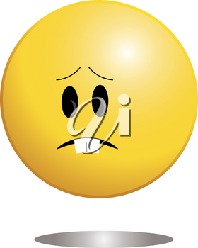 Clip Art Image of a Cute Little Ball Shaped Character Showing Sadness