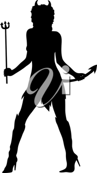 Clip Art Image of Woman Wearing a Sexy Devil Costume in Silhouette