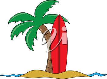 Clip Art Image of a Cartoon of a Surfboard Stuck in the Sand With a Palm Tree
