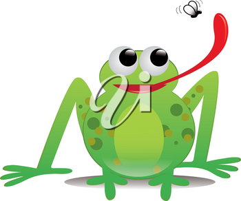 Clip Art Image of a Cartoon Frog Catching a Fly