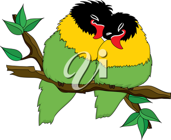 Clip Art Image of Two Lovebirds Snuggling on a Tree Branch