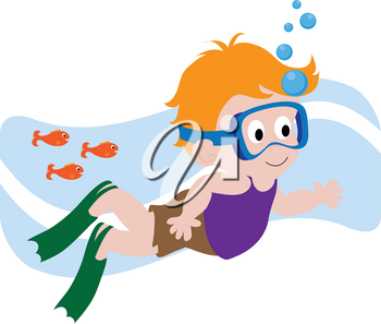 Clip Art Illustration of a Red Haired Boy Swimming With Fishes