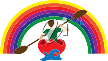 Clip Art Illustration of a Man Kayaking Under a Rainbow Icon