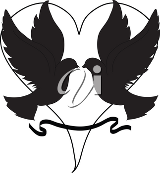 Clip Art Illustration of Doves Over a Heart in Silhouette