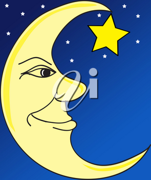 Clip Art Illustration of The Man in the Moon
