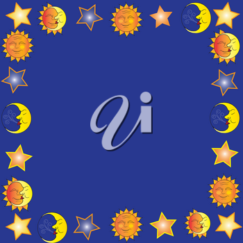 Clip Art Illustration of The Man in the Moon and Suns Border Design